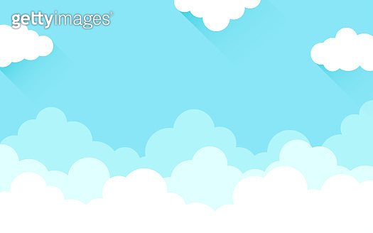 White cloud on high blue sky outdoor cartoon background vector flat design illustration