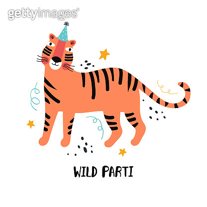 Tiger party. Exotic predatory cat on holiday. Hand drawn cute cartoon tiger character in a festive hat. Jungle animals wild party. Flat vector illustration with typography. Greeting card template