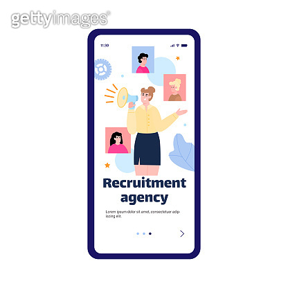 Onboarding screen for recruiting agency with HR manager flat vector illustration.