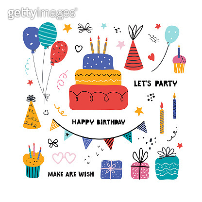 Birthday party isolated elements set. Hand drawn illustrations, Greeting card, invitation design elements. Cakes with candles, balloons. Holiday celebration, party decoration. Handwritten lettering