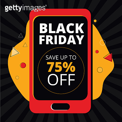 Black Friday Super Sale with discount for social media. Square banner template for Digital Marketing, mobile apps and digital. Smartphone with a black screen and advertising text about an online sale.