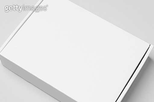White cardboard postal, mailing box mockup, closeup.