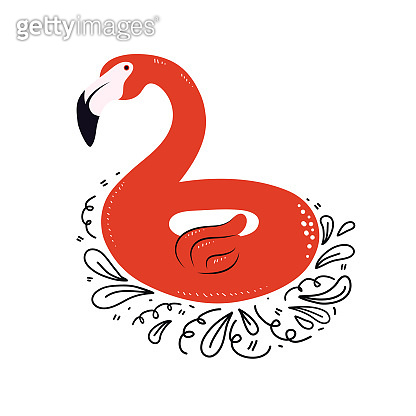 Summer flamingo float. Pink Flamingo inflatable circle isolated on white background. Summer hobby and pastime. Items for vacation and swimming. Hand drawn vector illustration with Doodle elements