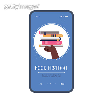 Vector mobile app interface on phone screen with concept of book festival.