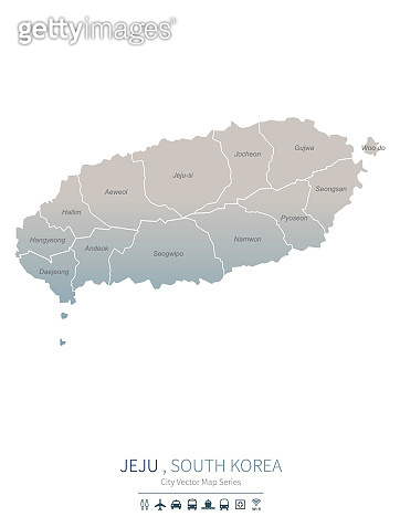 Jeju island Map. vector map of major cities of south korea.