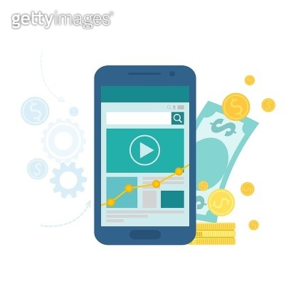 App monetization and mobile marketing business concept. Vector