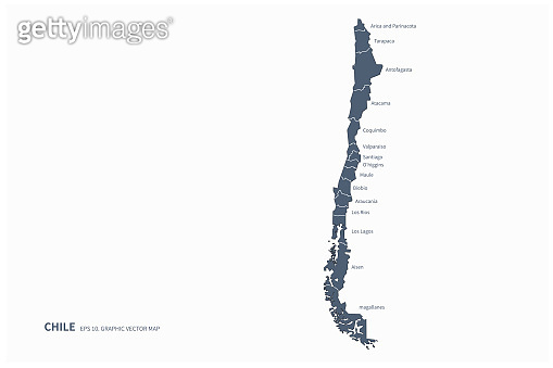chile map. santiago, chile in south america country map.