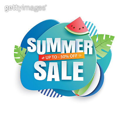 Summer sale banner paper cut template. Blue abstract geometric. Use for poster, sticker, badge, ads, tag.