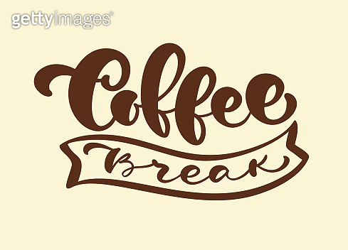 Hand drawn calligraphy lettering Coffee Break Hipster Vintage Stylized Lettering isolated on brown background. Vector phrase on the theme of coffee is hand-written for restaurant, cafe menu or banner, poster