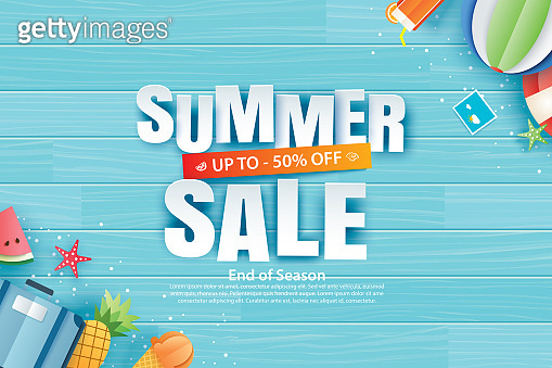 Summer sale with decoration origami on blue wooden background. Paper art and craft style. Vector illustration of ice cream, watermelon, sunglasses.