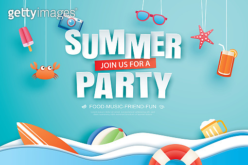 Summer party invitation banner with decoration origami. Paper art and craft style.