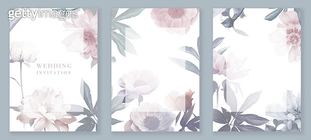 Garden flowers peonies. Vintage floral wedding cards set.