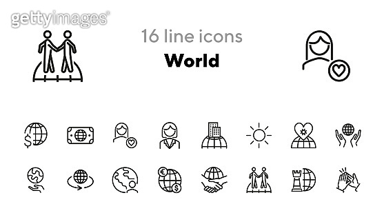 World line icon set