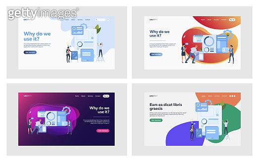 Businesspeople making infographics set