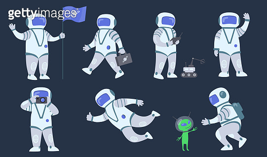 Cartoon spaceman flat icon set