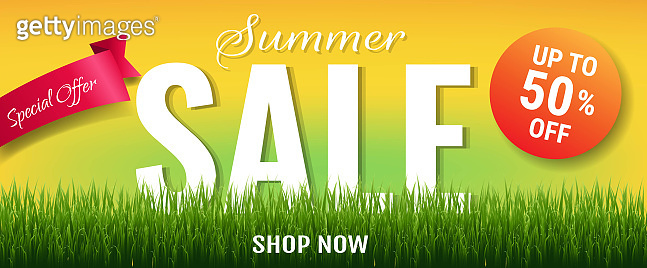 Summer Sale With Label And Grass