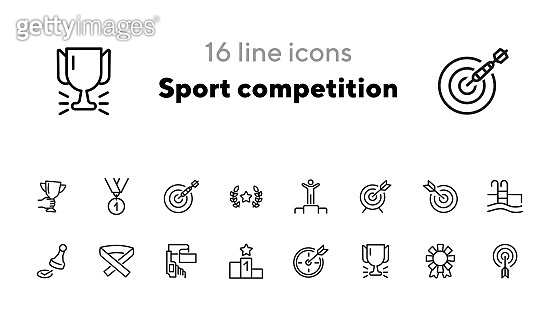 Sport competition line icon set