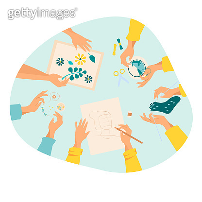 Creative handmade workshop flat vector illustration