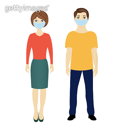 Man And Woman With Medical Masks Isolated White background