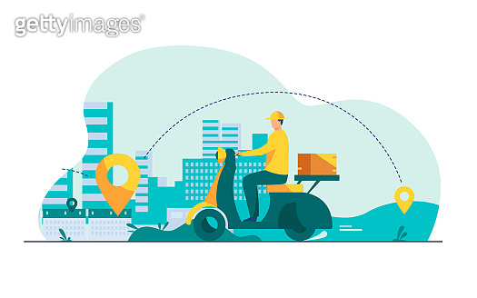 Courier shipping package at moped flat vector illustration