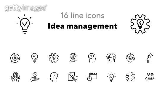 Idea management line icon set