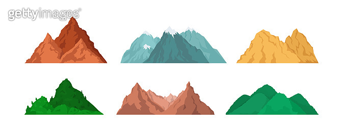 Mountain peaks set