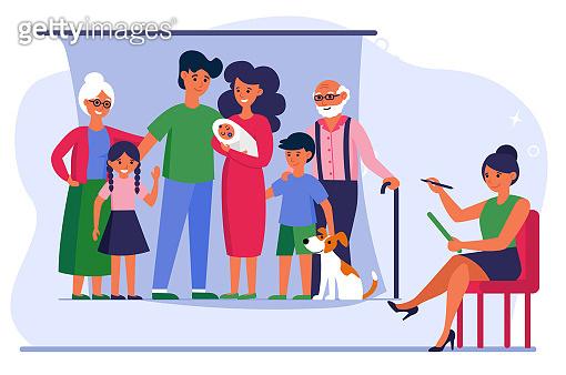Big family posing for artist in studio