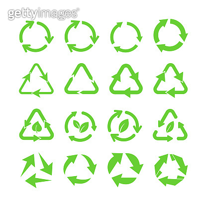 Green eco recycle arrows flat icon set