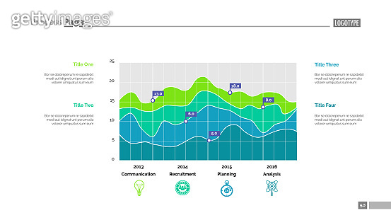 Detailed colorful graph slide template