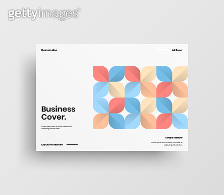 Creative business presentation vector A4 horizontal orientation front page mock up. Modern corporate report cover abstract geometric illustration design layout. Company identity brochure template.