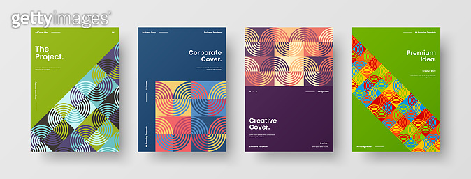 Company identity brochure template collection. Business presentation vector A4 vertical orientation front page mock up set. Corporate report cover abstract geometric illustration design layout bundle.