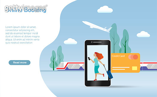 Woman travelling with luggage online booking flight and railway ticket with credit card on smart phone.