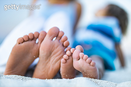 Sole of feet in sand on the beach!