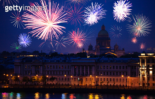 St. Isaac Cathedral and fireworks Saint Petersburg