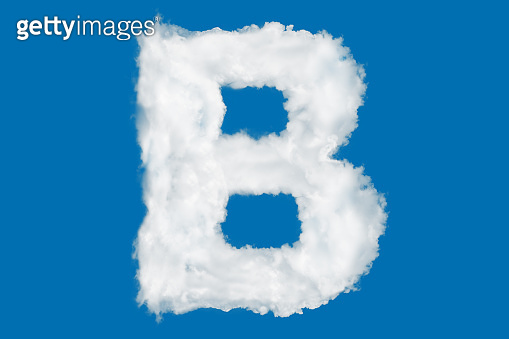 Letter B font shape element made of clouds on blue