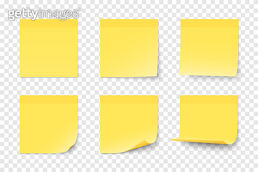 Set of vector yellow paper adhesive stickers