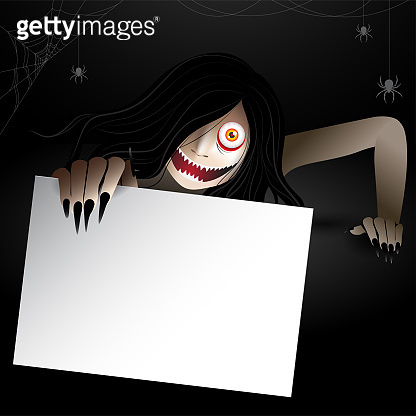 woman scary ghost holding a card