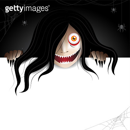 woman scary ghost behind white frame