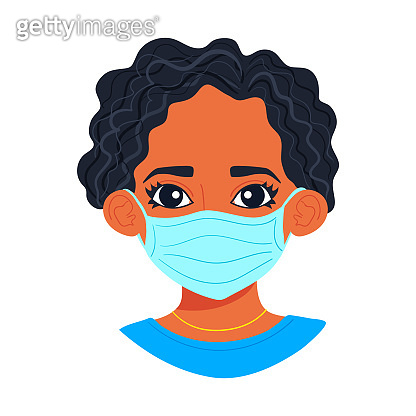 Portrait of young african woman wearing sterile disposable medical face mask for coronavirus protection. Covid-19 pandemy female character avatar, cartoon style black girl isolated on white background