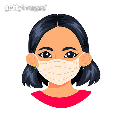 Portrait of young asian woman wearing sterile disposable medical face mask for coronavirus protection. Cartoon style girl character isolated on white background.