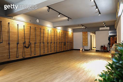 Empty yoga classroom