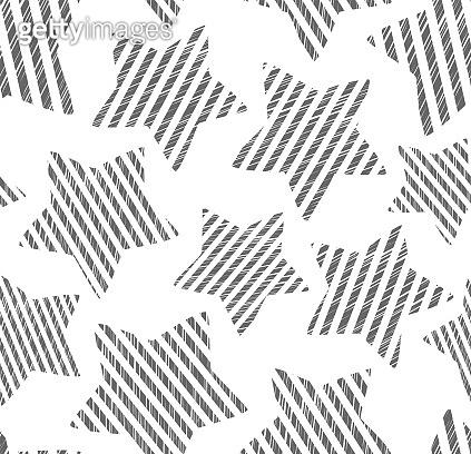 Striped stars, seamless pattern, hatching, white.