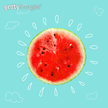 Creative idea layout fresh Watermelon slice.