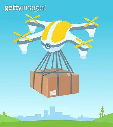 A delivery drone flying, carrying a cardboard box package. Summer city landscape, sky, a green meadow on the background. An order delivering, shipping.