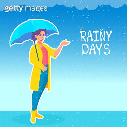 A woman forecaster standing under the rain, holding an umbrella, showing something by a hand. Rainy weather forecast. A girl presenter.