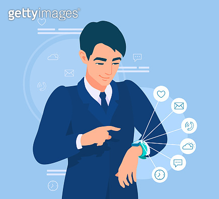 A businessman looks at a smartwatch. A man uses a fitness tracker. The application's icons showing the functionality of a device. An office worker checks his activity.