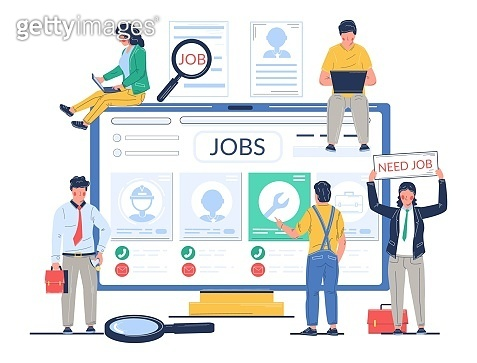 Job search vector concept flat style design illustration