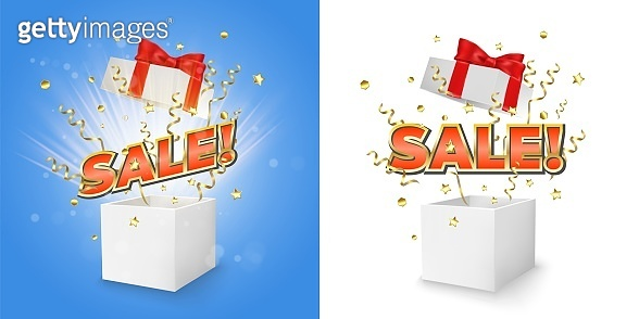 Sale gift box set, vector concept for banner, poster