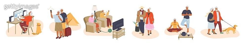 Older people leisure activities set, vector flat illustration