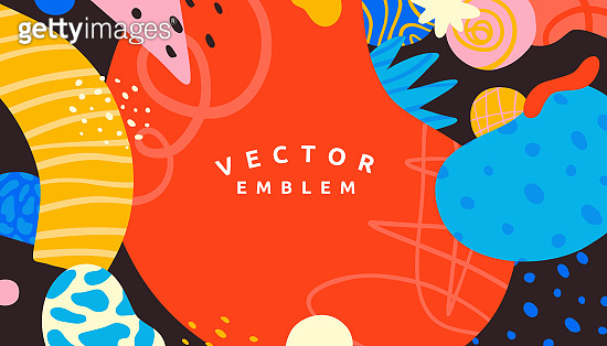 Vector abstract creative background in minimal trendy style with copy space for text and modern art shapes - digital collage, horizontal design template for social media and websites - simple, stylish and minimal wallpaper design for invitations